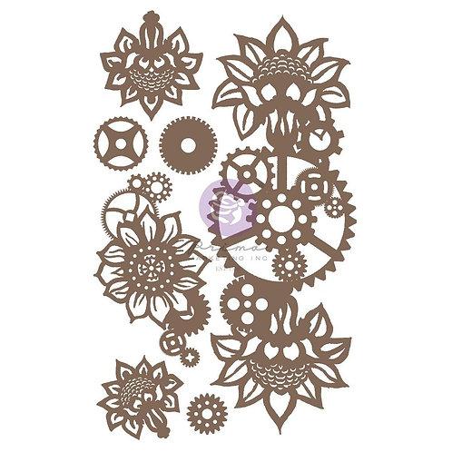 Finnabair Decorative Chipboard - Machine Florals