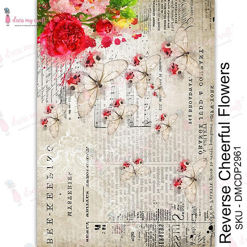 Dress My Craft Transfer Me Sheet A4 - Reverse Cheerful Flowers