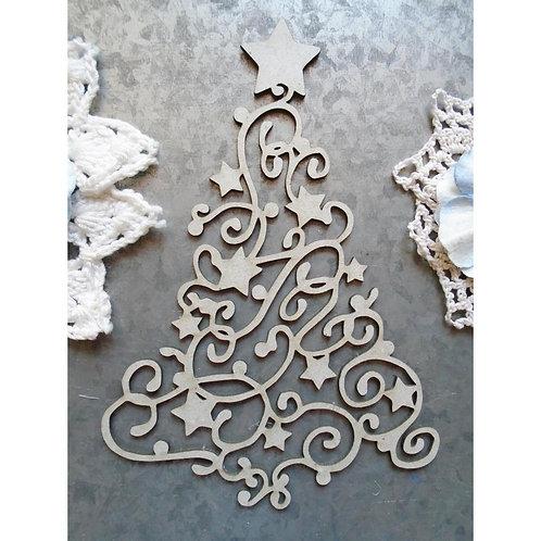 Scrapaholics Laser Cut Chipboard 1.8mm Thick - Swirl Christmas Tree