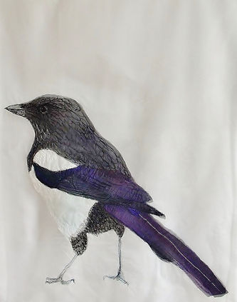 magpie, textile art, machine embroidery, hail to the thief, Helen Walsh, delicate stitches, embroidery, art