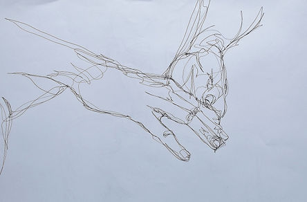 Helen Walsh, drawing, continuous line, life drawing, art, delicate stitches