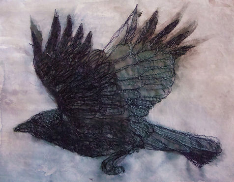 textile art, crow, Helen Walsh, machine embroidery, embroidery, delicate stitches, art, flying