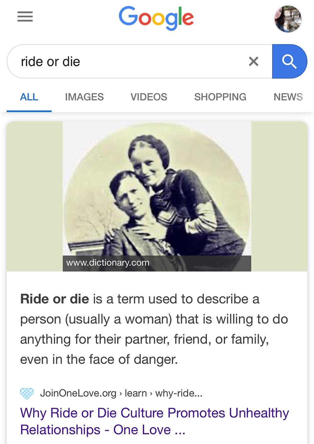 Ride or Die Definition
