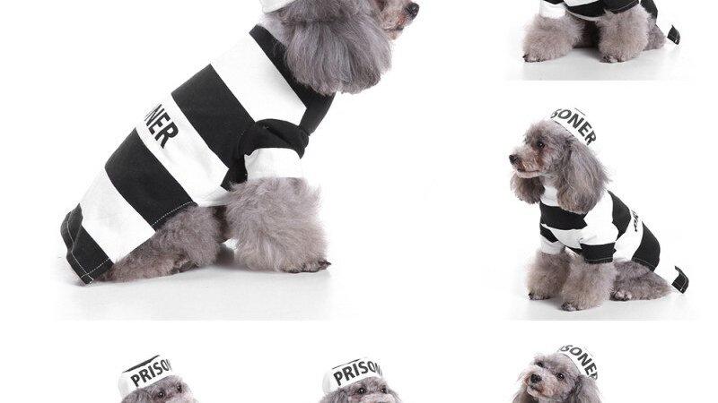 2Pcs Halloween Pets Dog Prison Suit Hat+Vest Coat Set Puppy Clothing Costume