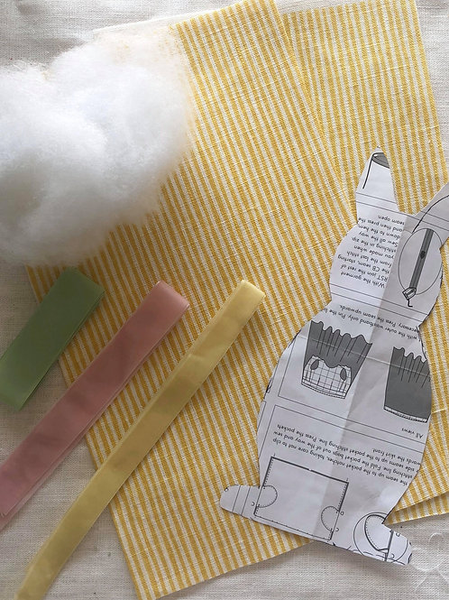 Easter Rabbit Kit - Yellow stripe fabric