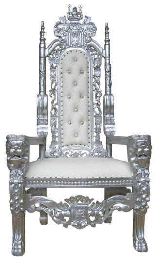 King Throne Chair Silver/White