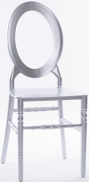 Oval Open Back Resin Chair   Silver