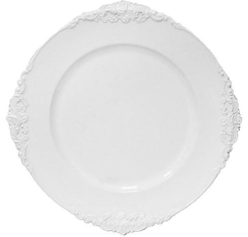 White Royal Corners Charger Plate