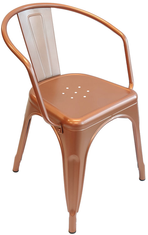 Metal Tolix Chair W / Armrests   Copper