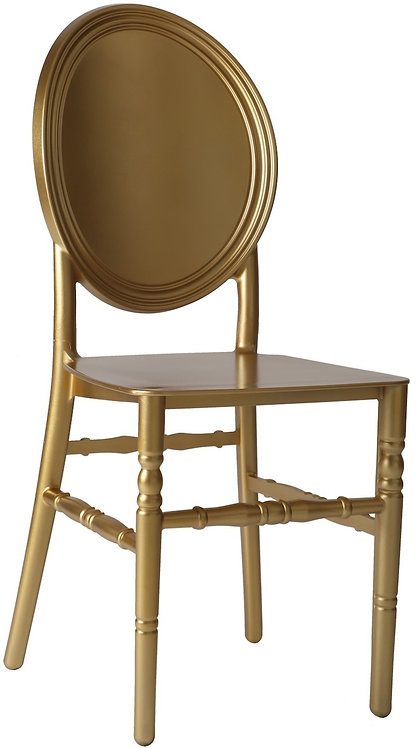 Round Solid Back Resin Chair   Gold