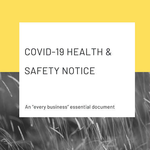 Covid-19 Health and Safety Notice for display in workplaces