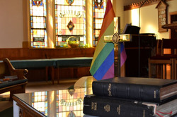 rainbow and cross affirming