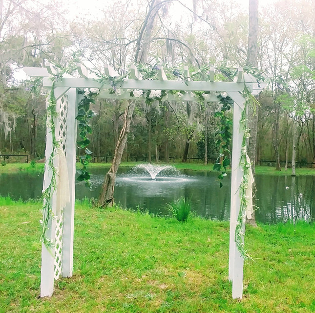 Our beautiful wedding trellis!