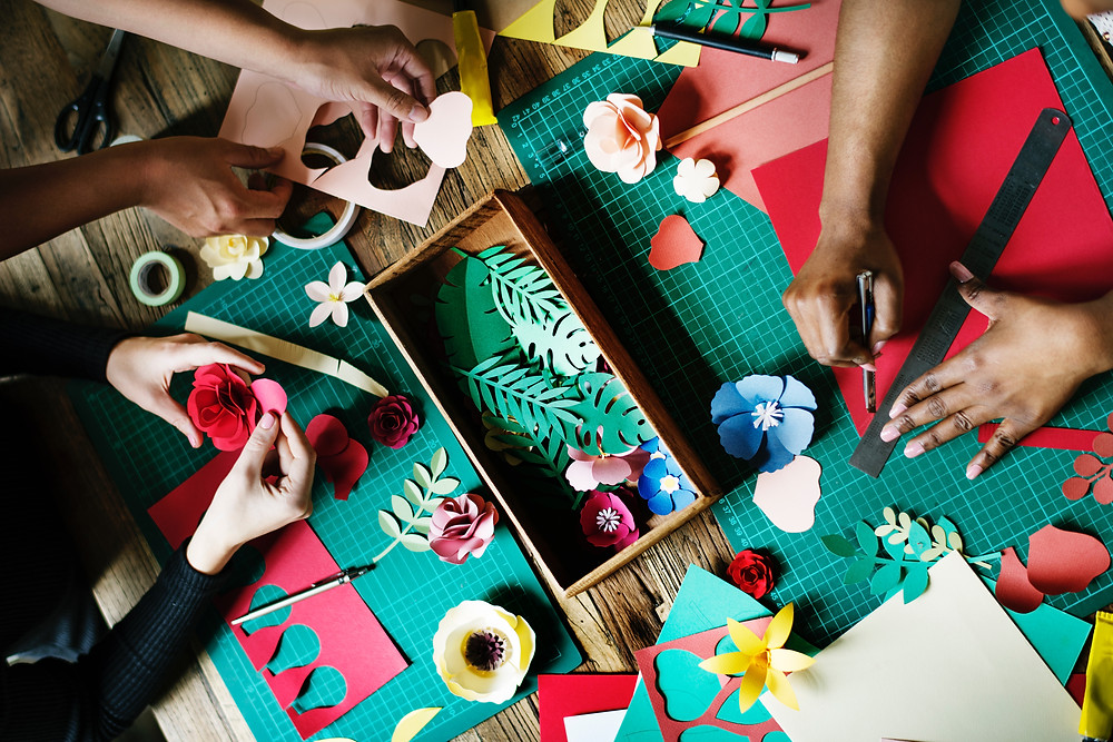 Colorful paper crafting with Peninsula Family Coaching