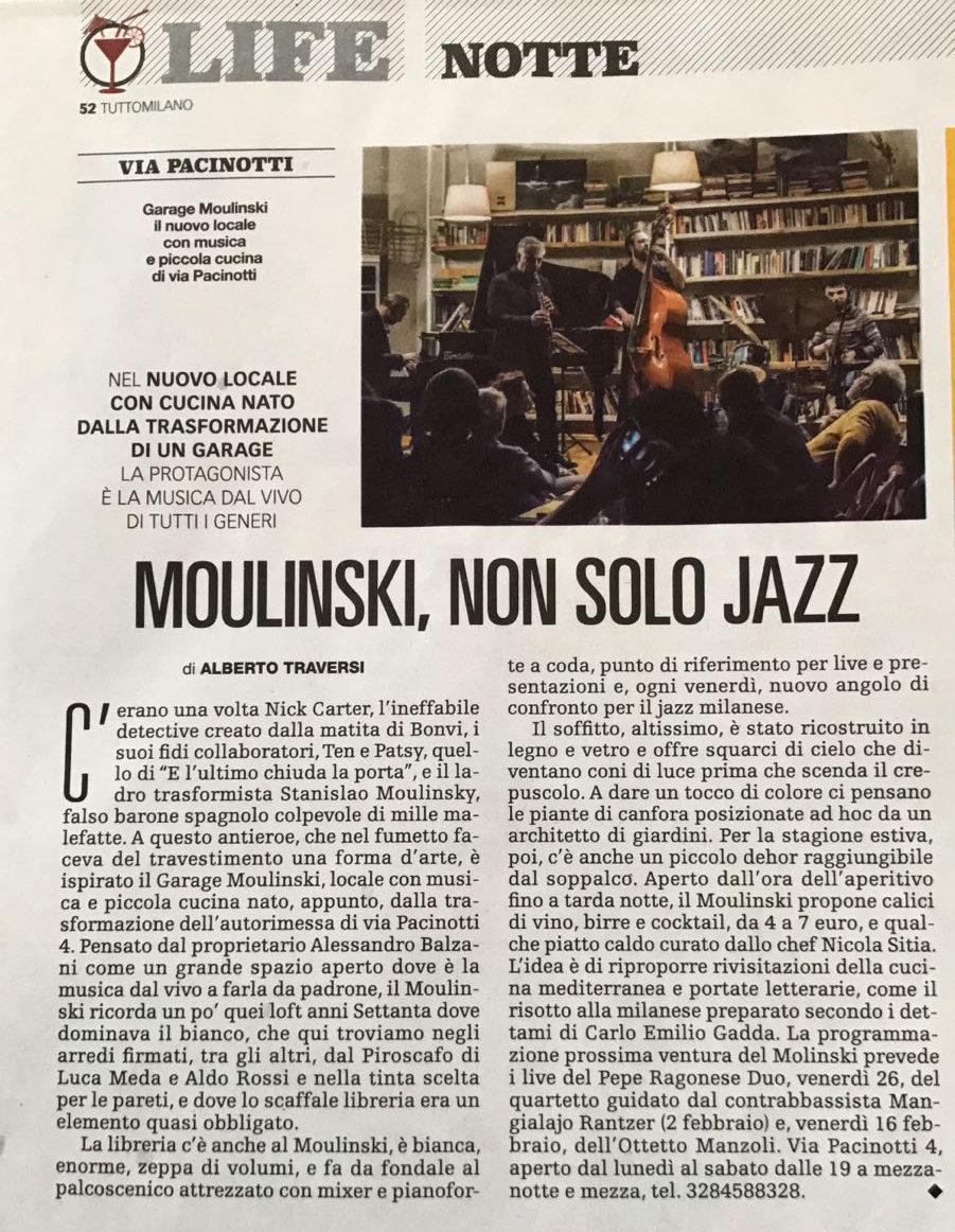 articolo del tuttomilano sul moulinski, locale serale di milano con musica dal vivo