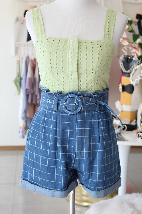 Lime Top/Square Jeans