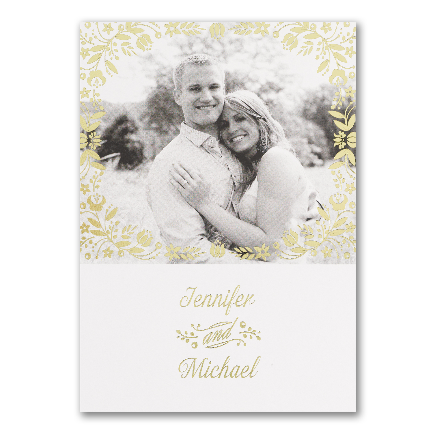Gold Flower Photo Invitation