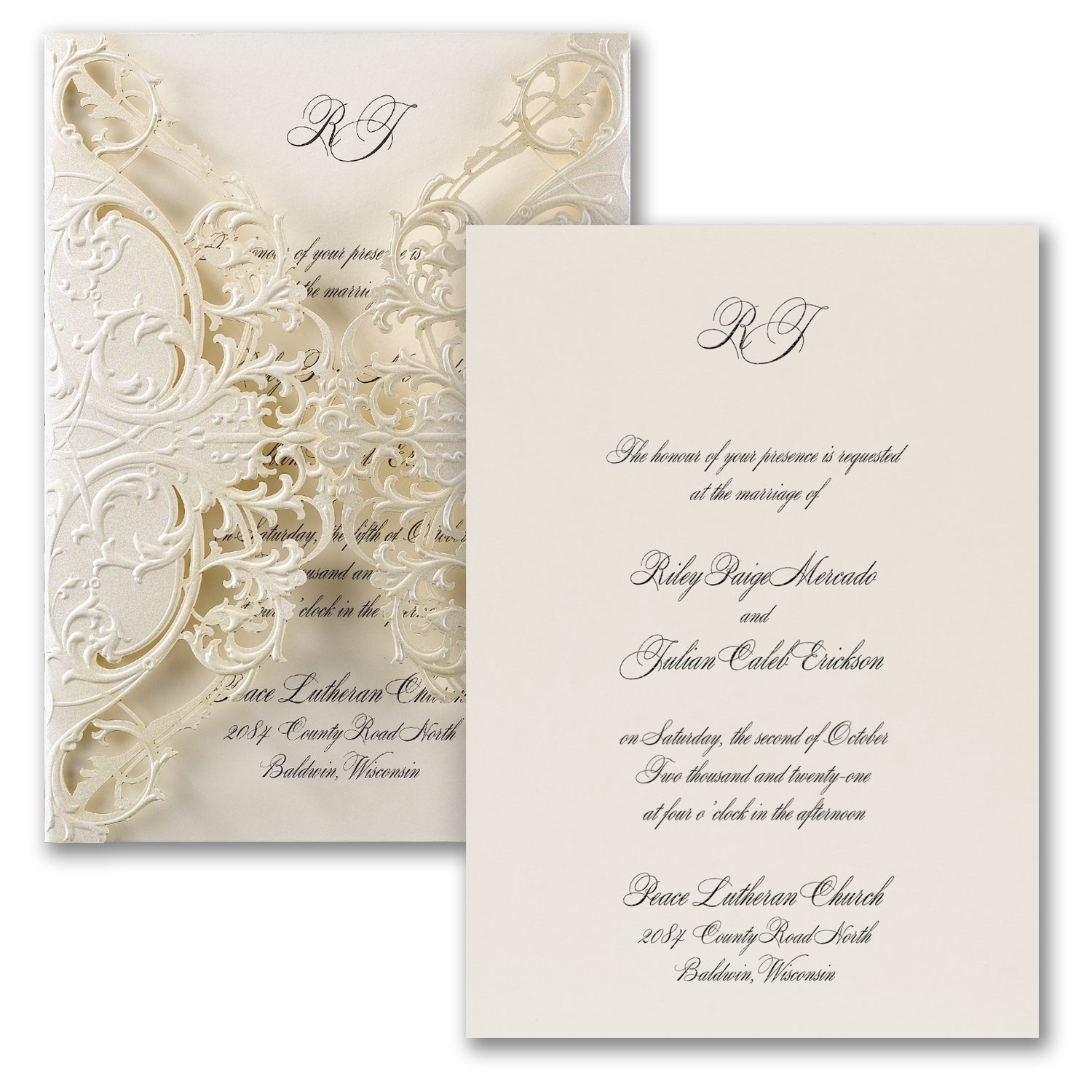 Lace Wrap Wedding Invitation