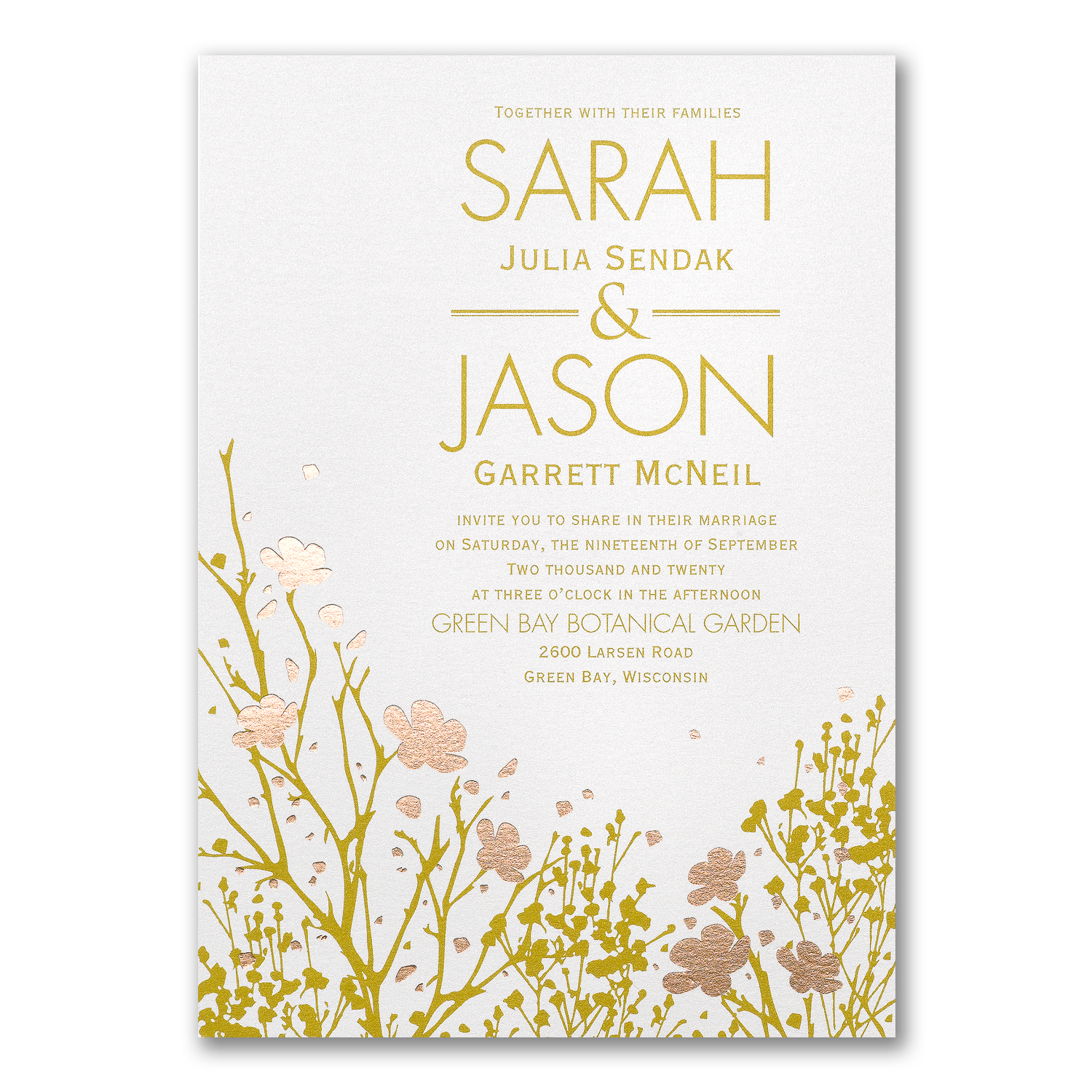 Gold Boho Flower Invitations