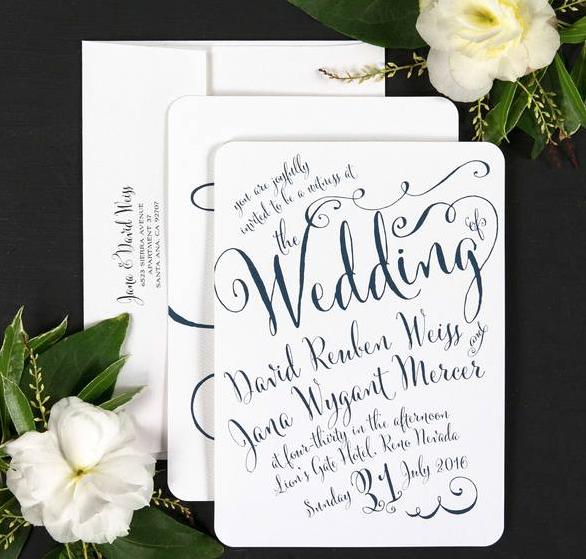 Calligraphy style wedding invitaton