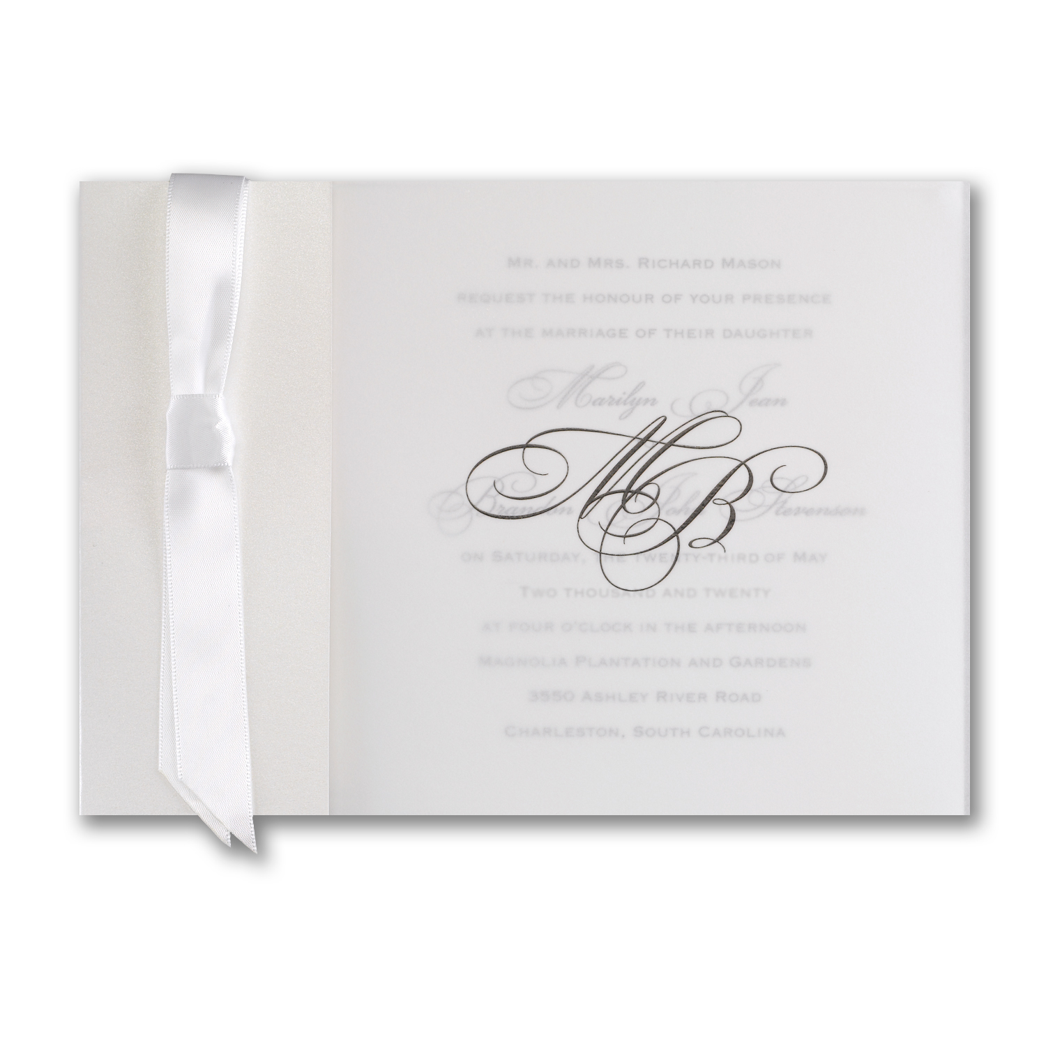 Transluscent Shimmer Wrap Wedding Invitation