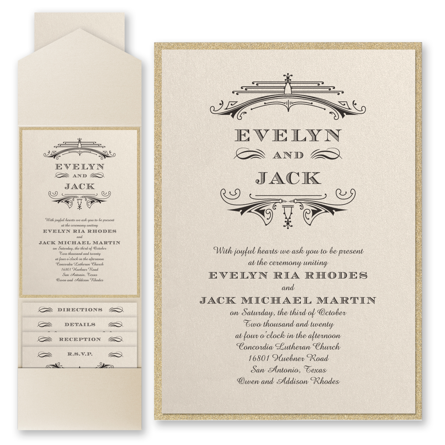 Elegant Deco Wedding Invitation with Pocket