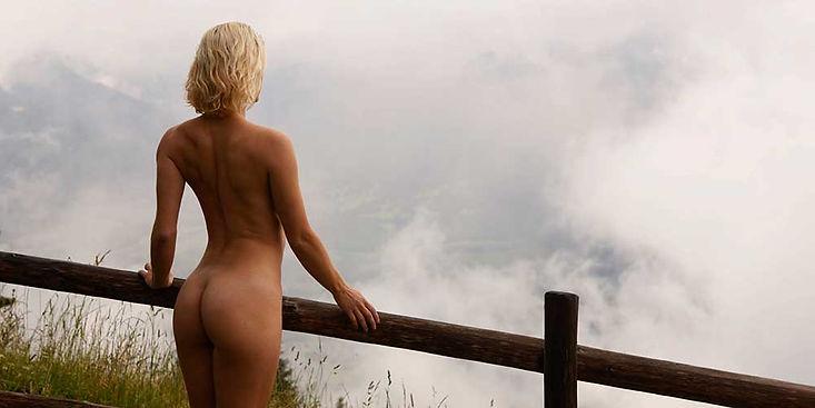 Aktfotografie, Location, Berge, Alpen, Nude in Public, Panorama