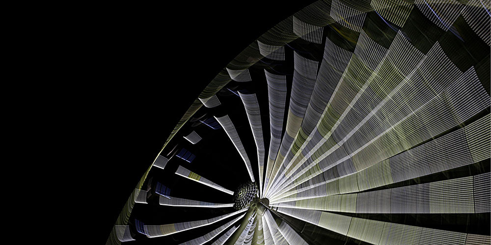 Langzeitbelichtung am Hi-Sky Riesenrad