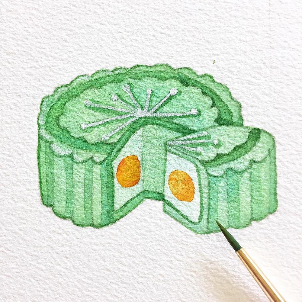 Watercolour of green mooncake