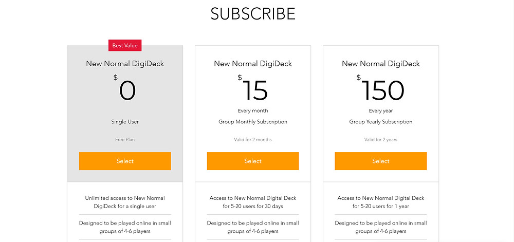 Digital decks subscription plan