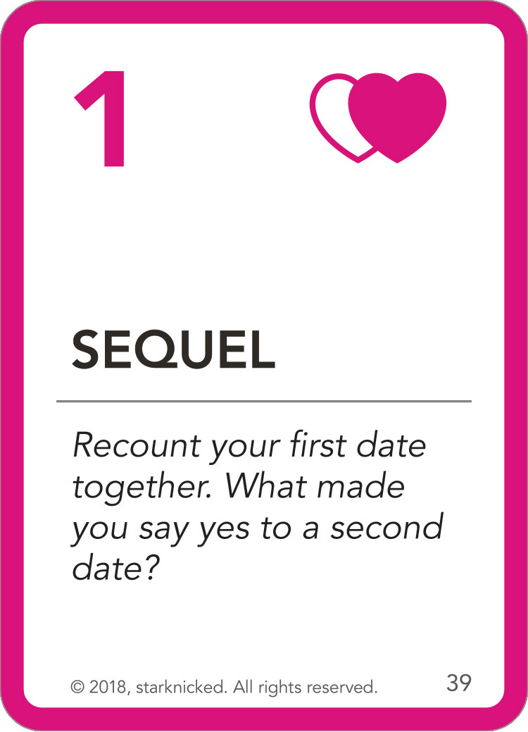 Sequel card - Recount your first date together. What made you say yes to a second date?
