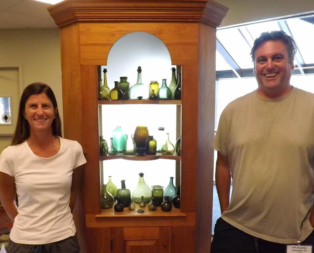The National Bottle Show is always a treat.  Holly and I are pictured here at the now legendary 2013 Manchester, NH event alongside our display of early New England utility bottles, a collection we continue to refine.