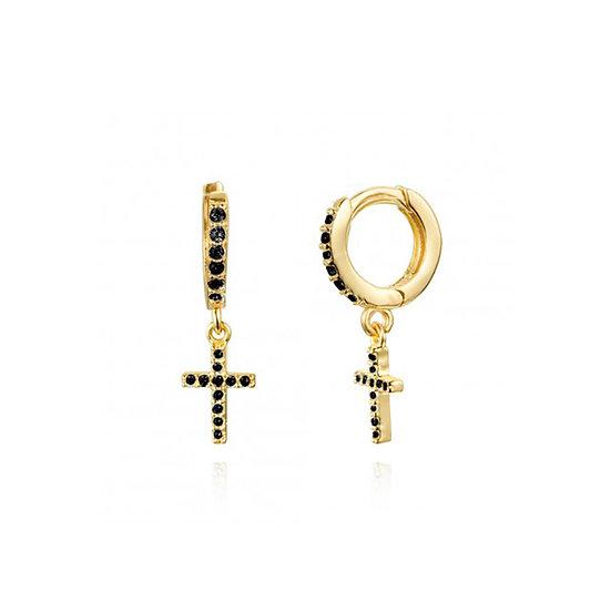 Pendientes Golden Cross Black