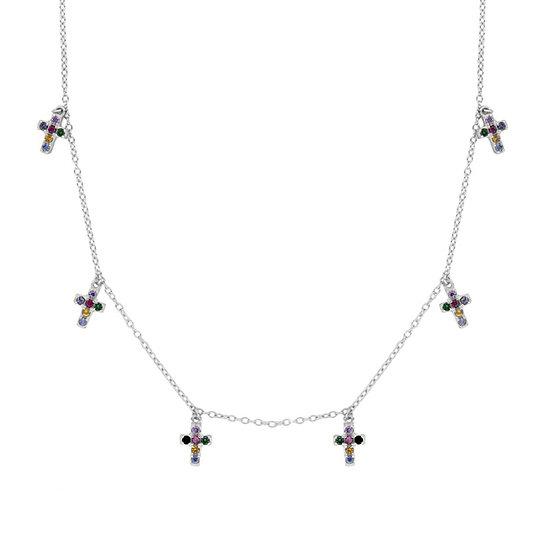 Collar Multicolor Cross Silver