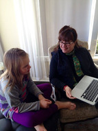 Working with my student Annabelle on her ABC story!