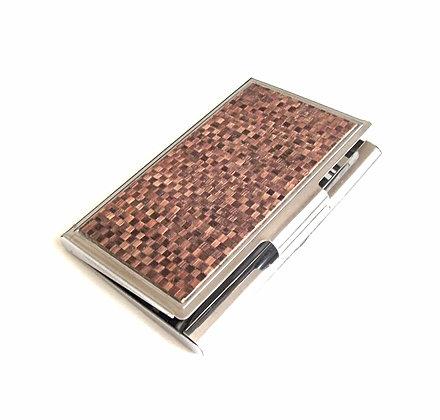 Porte cartes en marqueterie de paille caramel