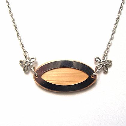 Collier en paille de seigle naturelle et métal argenté