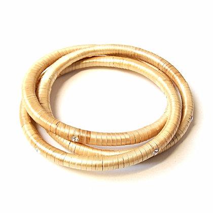 Bracelet anneaux entrelacés en marqueterie de paille