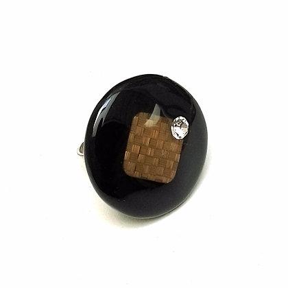 Bague résine noire en paille de seigle bronze et cristal