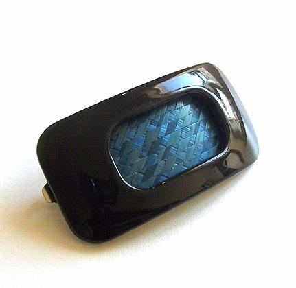 Barrette résine noire et marqueterie de paille bleue