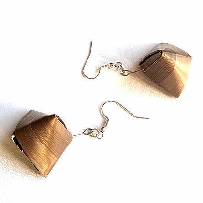 Boucles d'oreilles berlingots en paille bronze