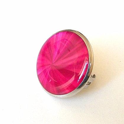 Bague réglable en marqueterie de paille rose