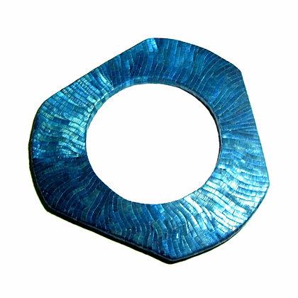 Bracelet plat en paille de seigle bleue