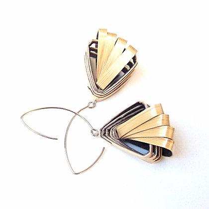 Boucles d'oreilles rubans de paille de seigle naturelle