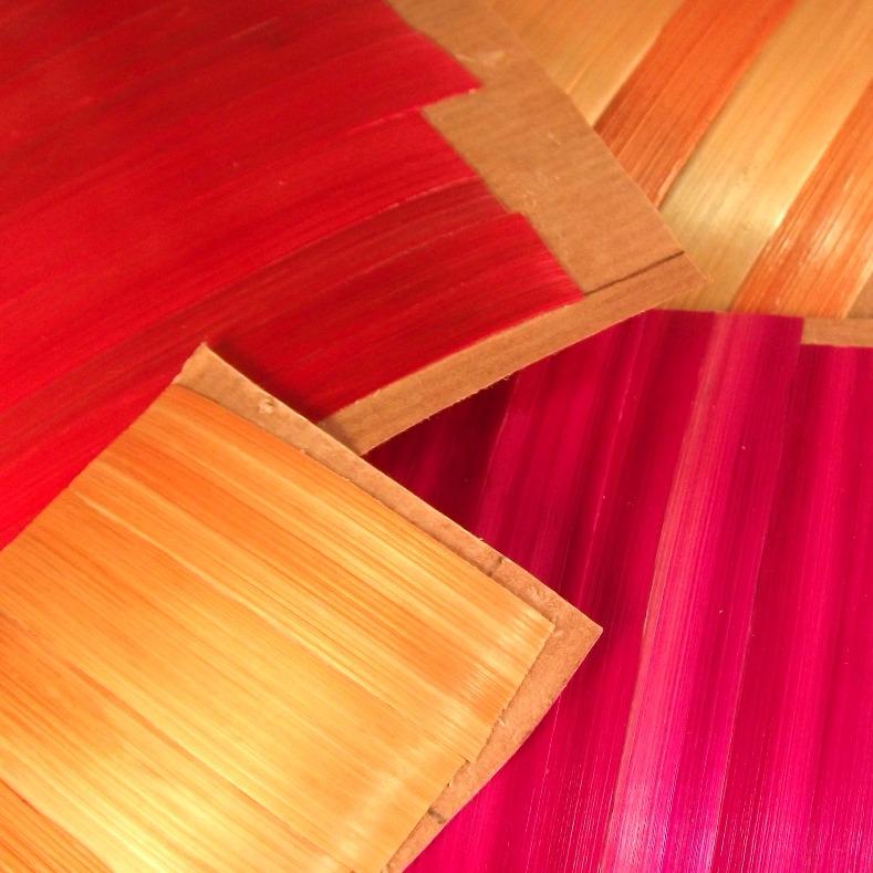 Seigle marqueté après teinture, atelier Eclats de paille