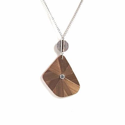 Collier abstrait en paille bronze et cristal