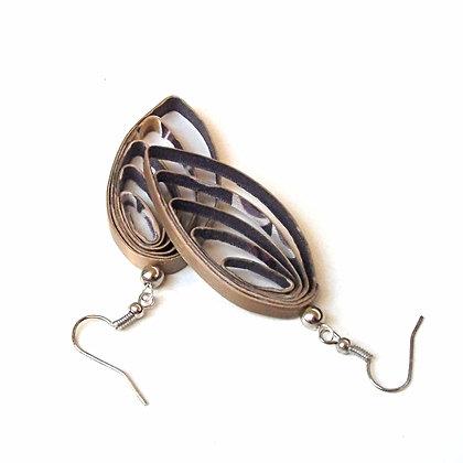 Boucles d'oreilles en marqueterie de paille bronze