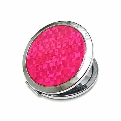 Miroir de poche en paille de seigle rose