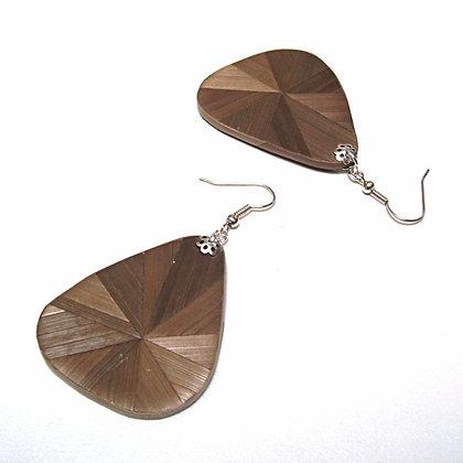 Boucles d'oreilles pendantes en marqueterie bronze