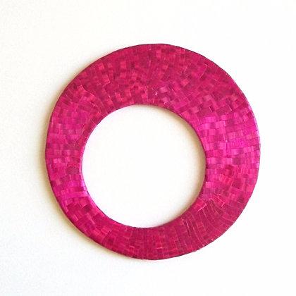 Bracelet plat en paille de seigle rose fuchsia